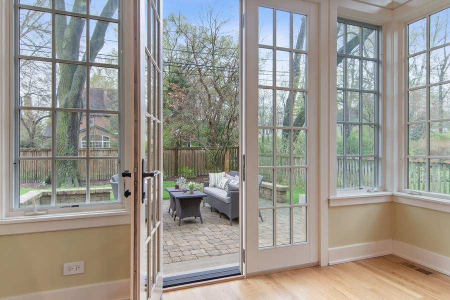 Real Estate Photography - 3206 Park Place, Evanston, IL, 60201 - Breakfast Room Opens to Patio