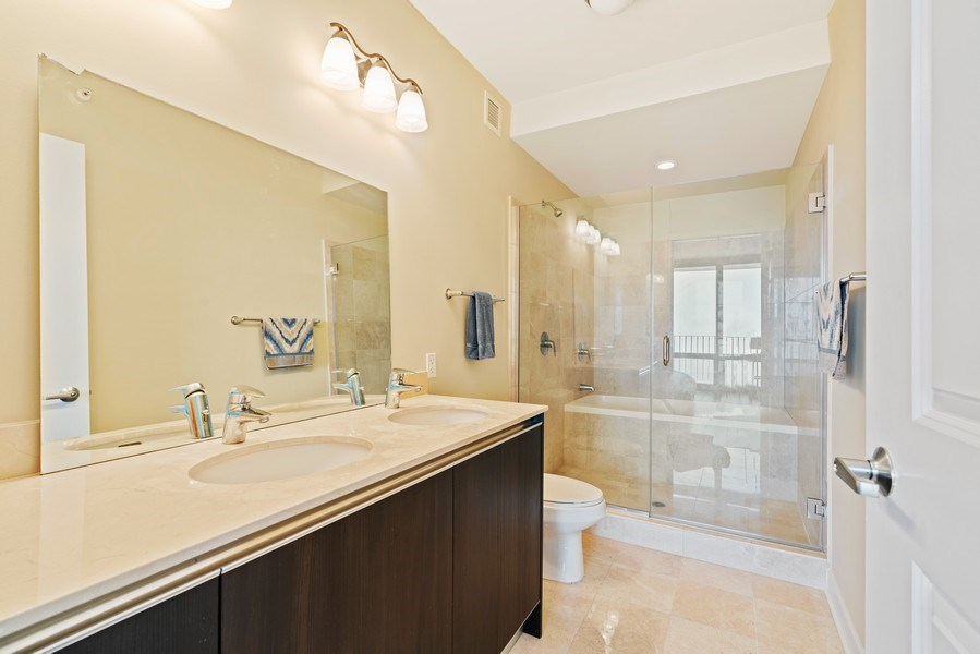 Real Estate Photography - 225 N Columbus Dr, 6504, Chicago, IL, 60601 - Master Bathroom