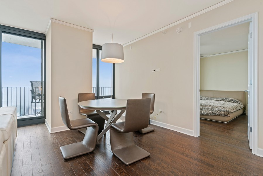 Real Estate Photography - 225 N Columbus Dr, 6504, Chicago, IL, 60601 - Dining Room
