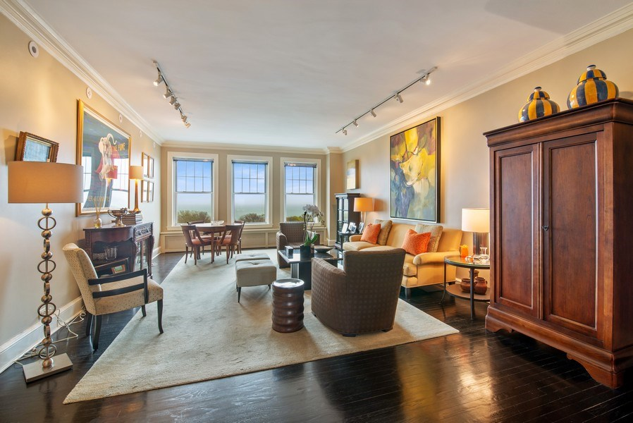 Real Estate Photography - 3530 N. Lake Shore Drive, Unit 11B, Chicago, IL, 60657 - Living Room