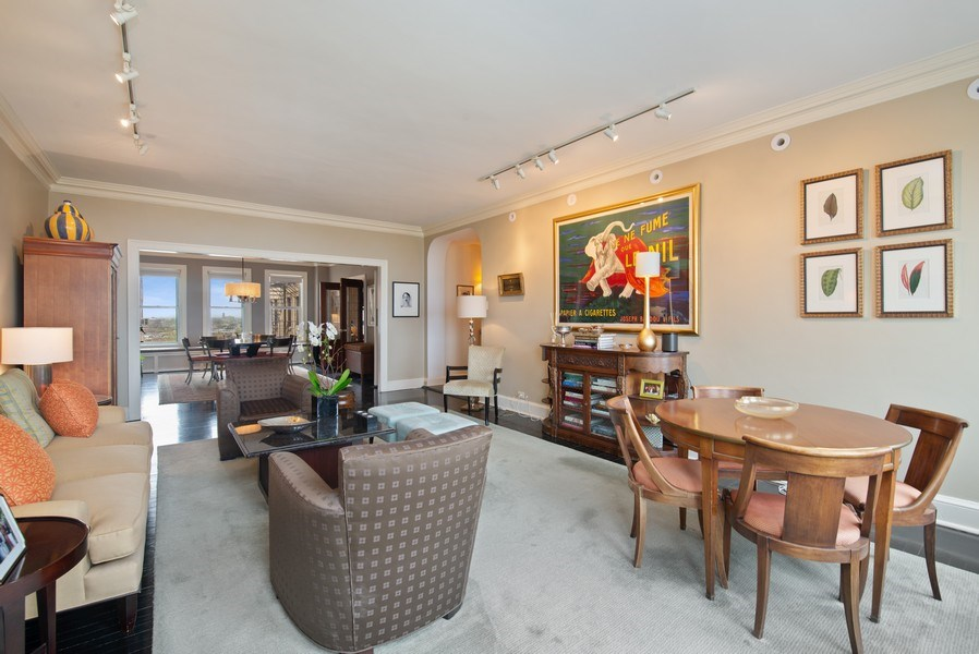 Real Estate Photography - 3530 N. Lake Shore Drive, Unit 11B, Chicago, IL, 60657 - Living Room with view of Dining Room