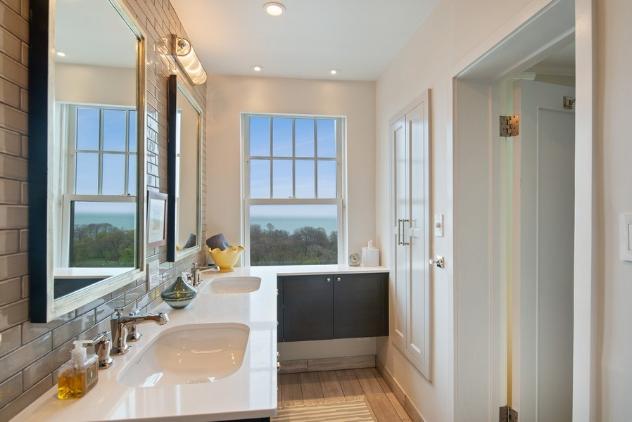 Real Estate Photography - 3530 N. Lake Shore Drive, Unit 11B, Chicago, IL, 60657 - Master Bathroom