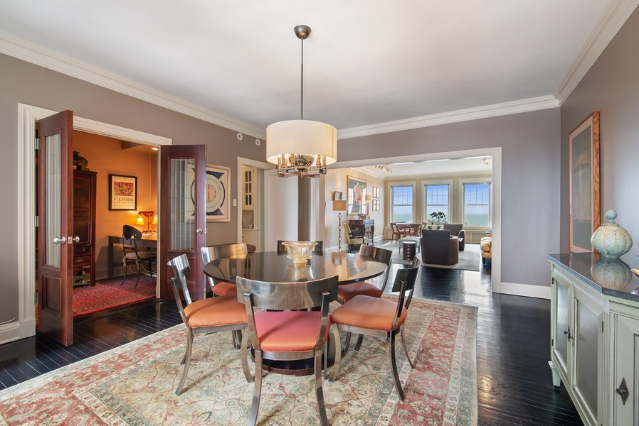 Real Estate Photography - 3530 N. Lake Shore Drive, Unit 11B, Chicago, IL, 60657 - Living Room / Dining Room