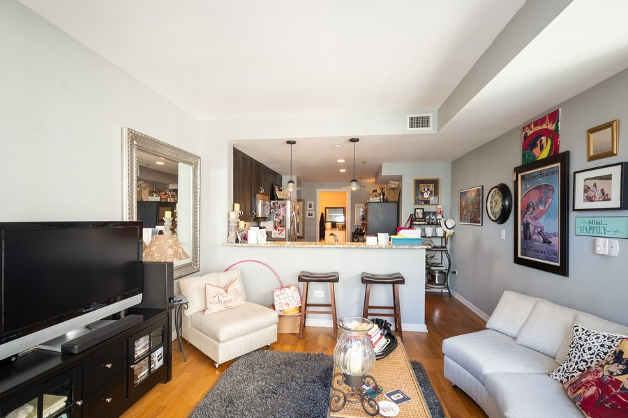 Real Estate Photography - 160 E. ILLINOIS Street, Unit 1903, Chicago, IL, 60611 - Kitchen / Living Room