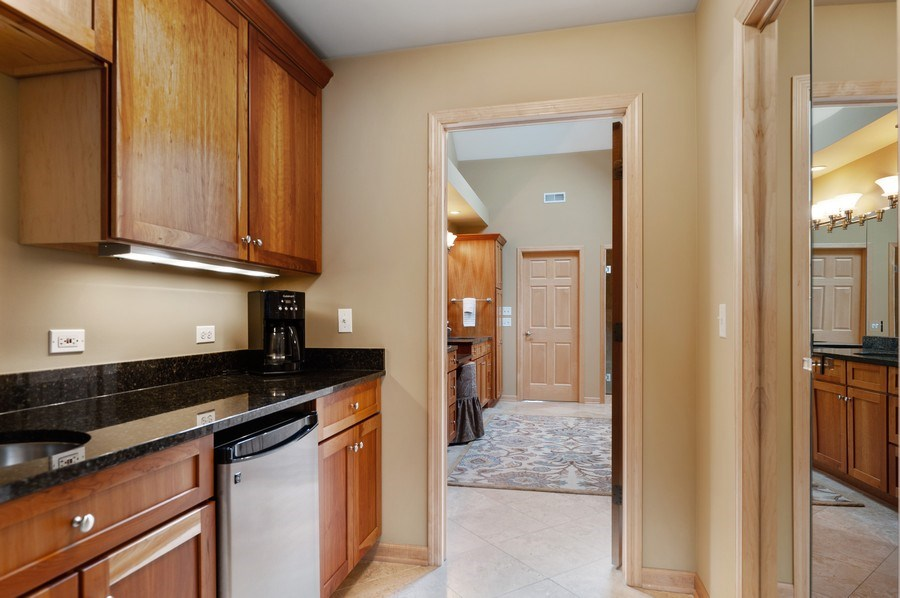 Real Estate Photography - 39716 Orchard Bluff Lane, Wadsworth, IL, 60083 - Master Bedroom Coffee/Wine Bar