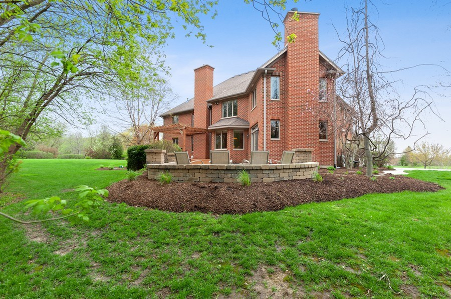 Real Estate Photography - 39716 Orchard Bluff Lane, Wadsworth, IL, 60083 - Rear Fire Pit View