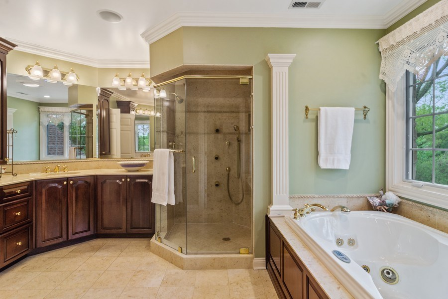 Real Estate Photography - 916 N. Forrest Avenue, Arlington Heights, IL, 60004 - Master Bathroom with jetted tub & separate shower
