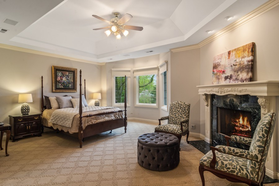 Real Estate Photography - 916 N. Forrest Avenue, Arlington Heights, IL, 60004 - Master Bedroom with fireplace & stunning yard view