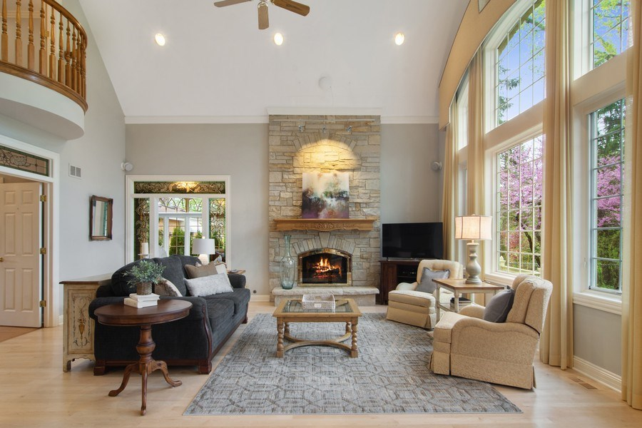 Real Estate Photography - 916 N. Forrest Avenue, Arlington Heights, IL, 60004 - Family Room w/stone fireplace & Juliette balcony