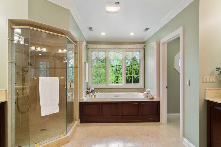 Real Estate Photography - 916 N. Forrest Avenue, Arlington Heights, IL, 60004 - Master Bathroom with outdoor views