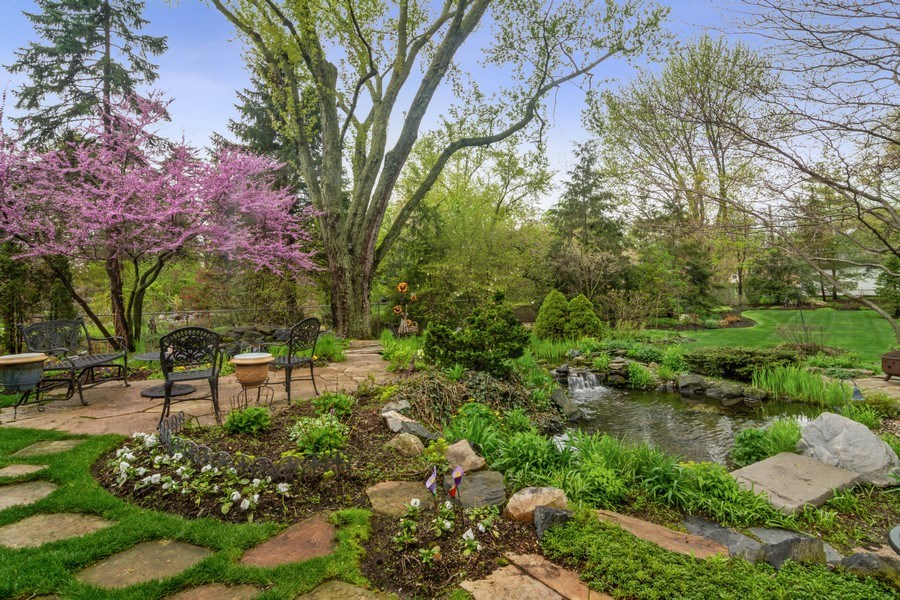 Real Estate Photography - 916 N. Forrest Avenue, Arlington Heights, IL, 60004 - Terrace views look over multi-level ponds