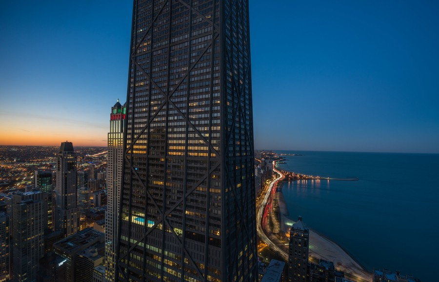 Real Estate Photography - 180 E. Pearson Street, Unit 6602, Chicago, IL, 60611 - Sunset & Evening Lake Views