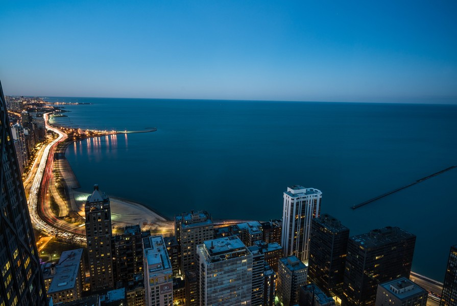 Real Estate Photography - 180 E. Pearson Street, Unit 6602, Chicago, IL, 60611 - Oak Street Beach Evening View