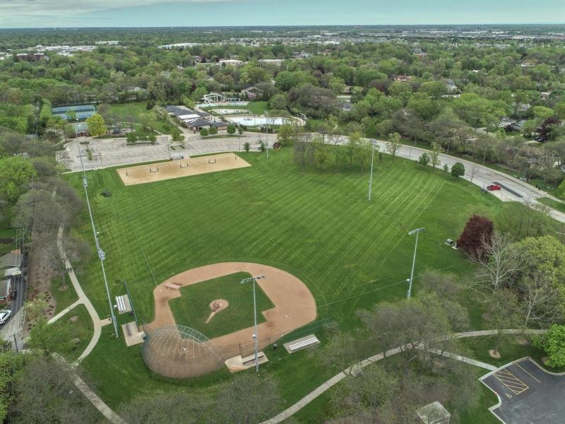 Real Estate Photography - 3703 Springdale Ave, Glenview, IL, 60025 - Flick Park Adjacent/Baseball Fields