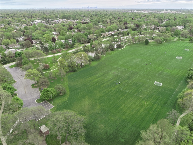 Real Estate Photography - 3703 Springdale Ave, Glenview, IL, 60025 - Flick Park Pond and Soccer Fields