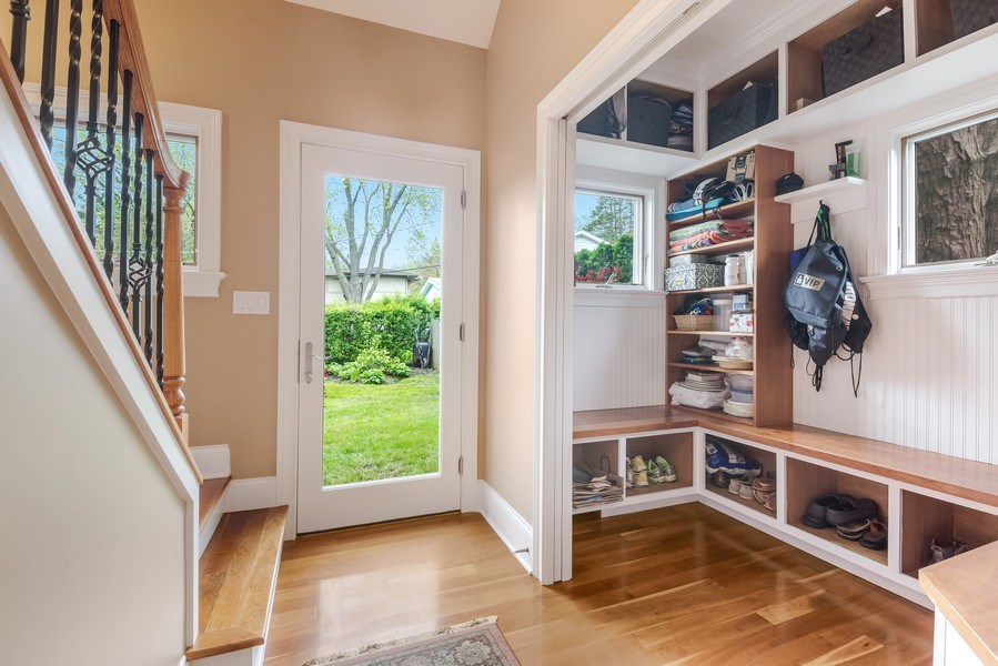 Real Estate Photography - 3703 Springdale Ave, Glenview, IL, 60025 - Mudroom with Second Staircase