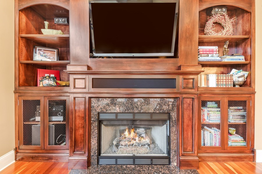 Real Estate Photography - 3703 Springdale Ave, Glenview, IL, 60025 - Family Room Fireplace with Built-Ins