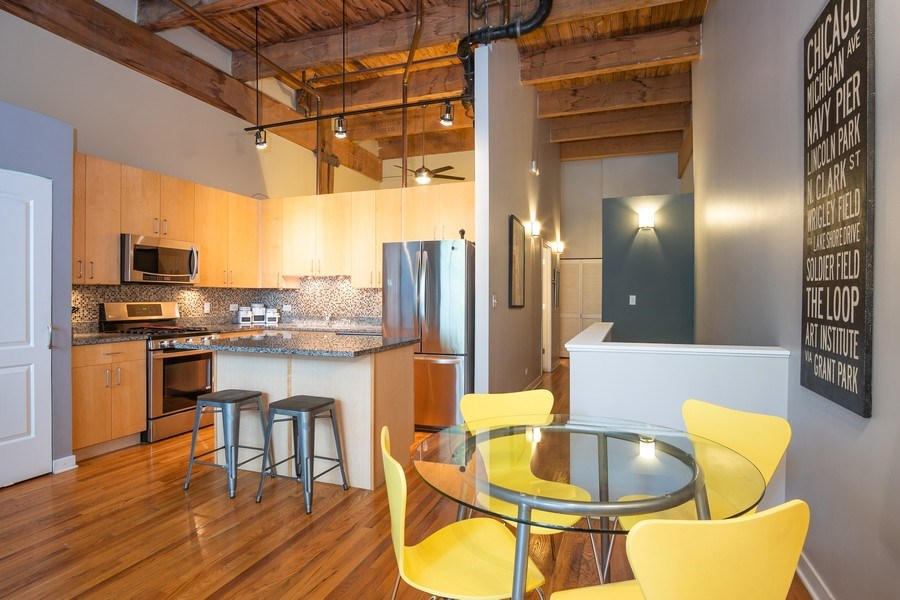 Real Estate Photography - 2201 West Wabansia Ave, 6, Chicago, IL, 60647 - Kitchen / Dining Room