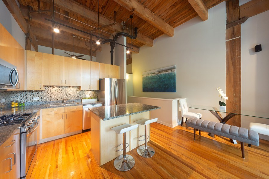 Real Estate Photography - 2201 West Wabansia Ave, 6, Chicago, IL, 60647 - Kitchen/Dining