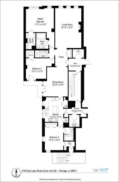 Real Estate Photography - 219 E. LAKE SHORE Drive, Unit 5D, Chicago, IL, 60611 - Floor Plan