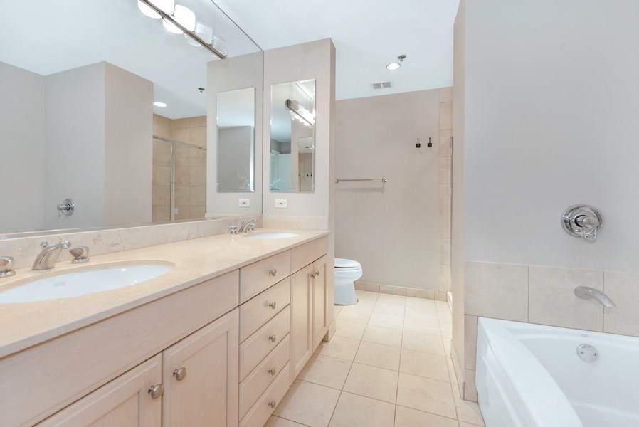Real Estate Photography - 57 E Delaware Pl, Unit 2901, Chicago, IL, 60611 - Master Bathroom