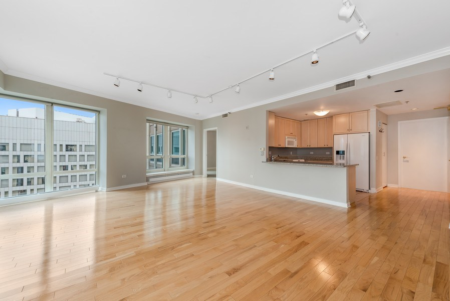 Real Estate Photography - 57 E Delaware Pl, Unit 2901, Chicago, IL, 60611 - Kitchen / Living Room