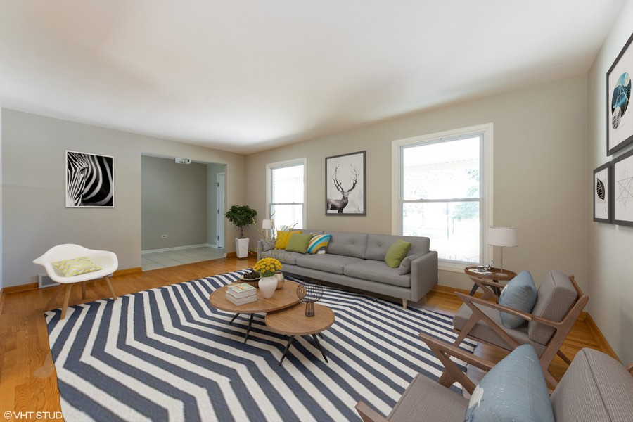 Real Estate Photography - 3018 N. Stratford Road, Arlington Heights, IL, 60004 - Virtually Staged Living Room