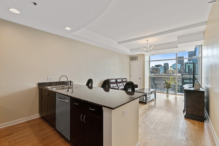 Real Estate Photography - 303 W. Ohio Street, Unit 3005, Chicago, IL, 60654 - Kitchen / Living Room