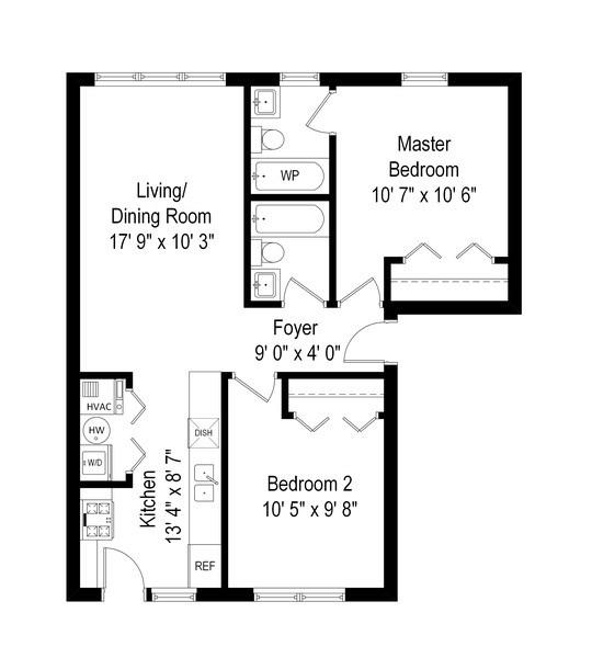 Real Estate Photography - 3652 W. BELLE PLAINE Avenue, Unit 204, Chicago, IL, 60618 - Floor Plan