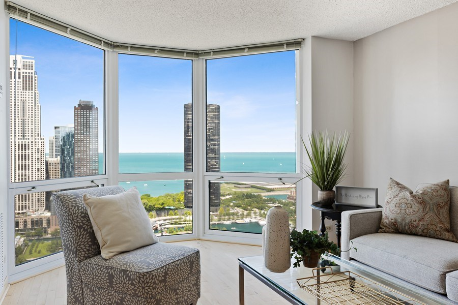 Real Estate Photography - 195 N. Harbor Drive, Unit 3601, Chicago, IL, 60601 - Living Room