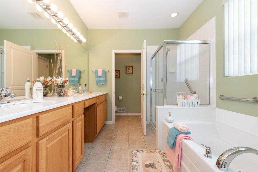 Real Estate Photography - 2544 Harvest Vly, Elgin, IL, 60124 - MASTER BATHROOM WITH TILE FLOOR