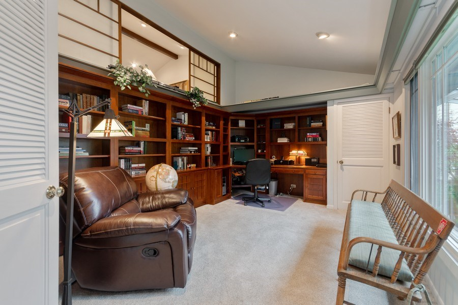 Real Estate Photography - 821 Burning Tree Ln, Naperville, IL, 60563 - Library is custom fitted