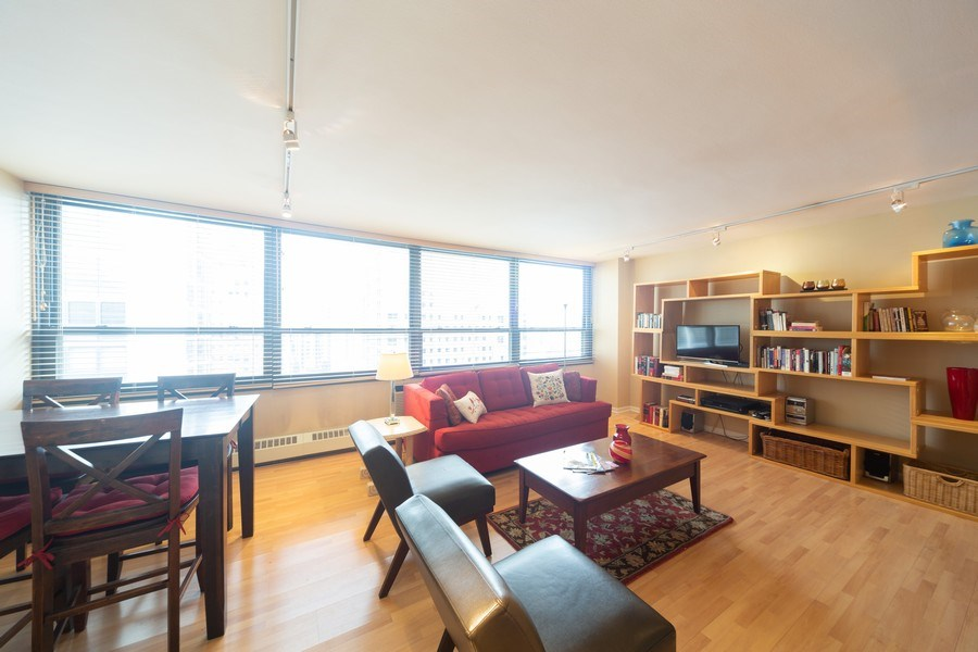 Real Estate Photography - 33 E. Cedar Street, Unit 19C, Chicago, IL, 60611 - Living Room / Dining Room