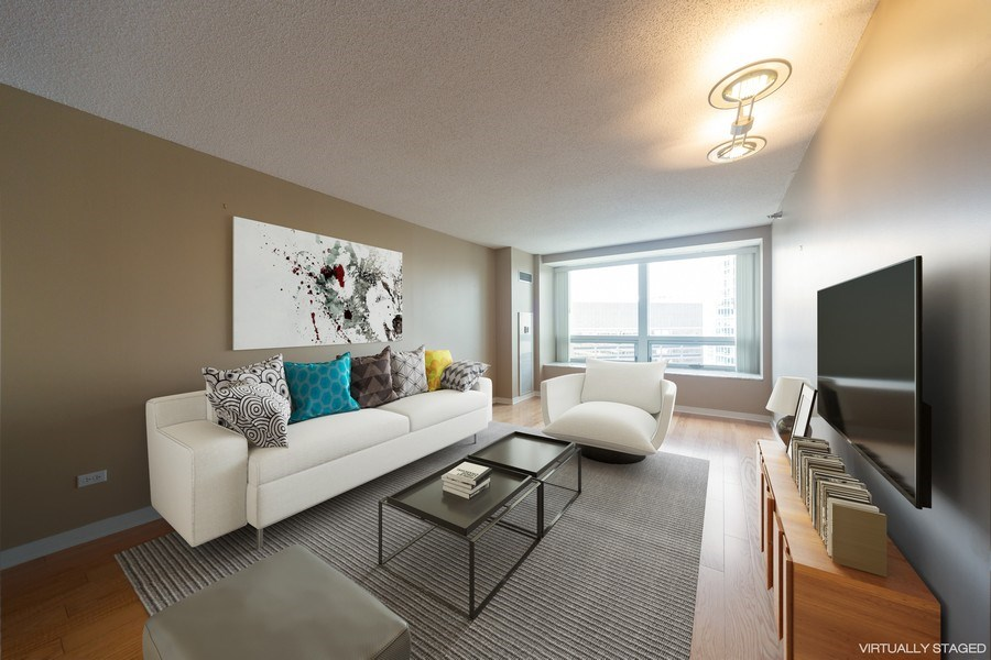Real Estate Photography - 512 N. McClurg Court, Unit 3412, Chicago, IL, 60611 - Living Room