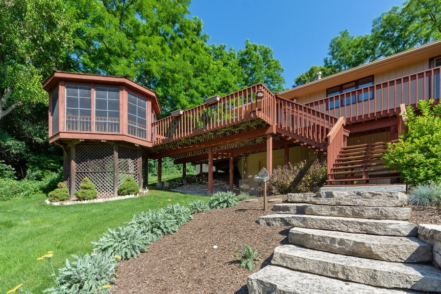 Real Estate Photography - 24841 South Drive, Tower Lakes, IL, 60010 - Gazebo and Deck