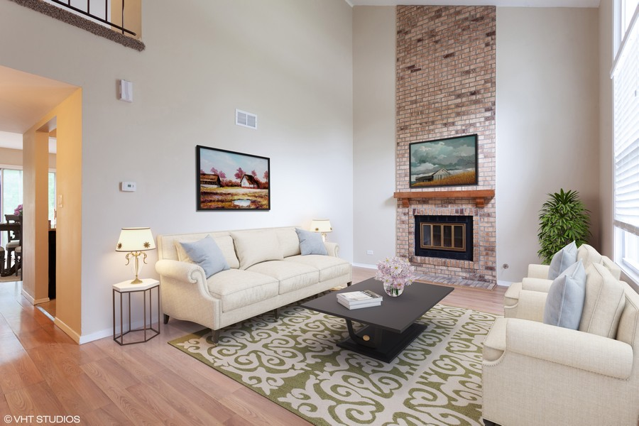 Real Estate Photography - 2930 Pine Tree Court, Aurora, IL, 60502 - Living room staged
