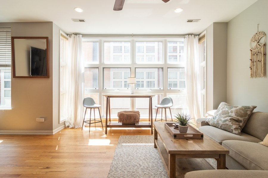 Real Estate Photography - 3337 W. IRVING PARK Road, Unit 3E, Chicago, IL, 60618 - Living Room
