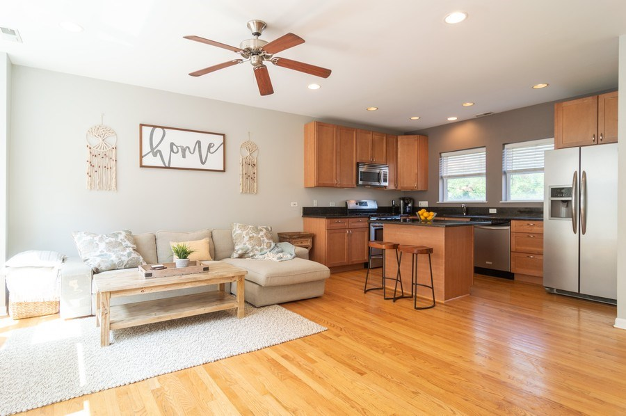 Real Estate Photography - 3337 W. IRVING PARK Road, Unit 3E, Chicago, IL, 60618 - Kitchen / Living Room