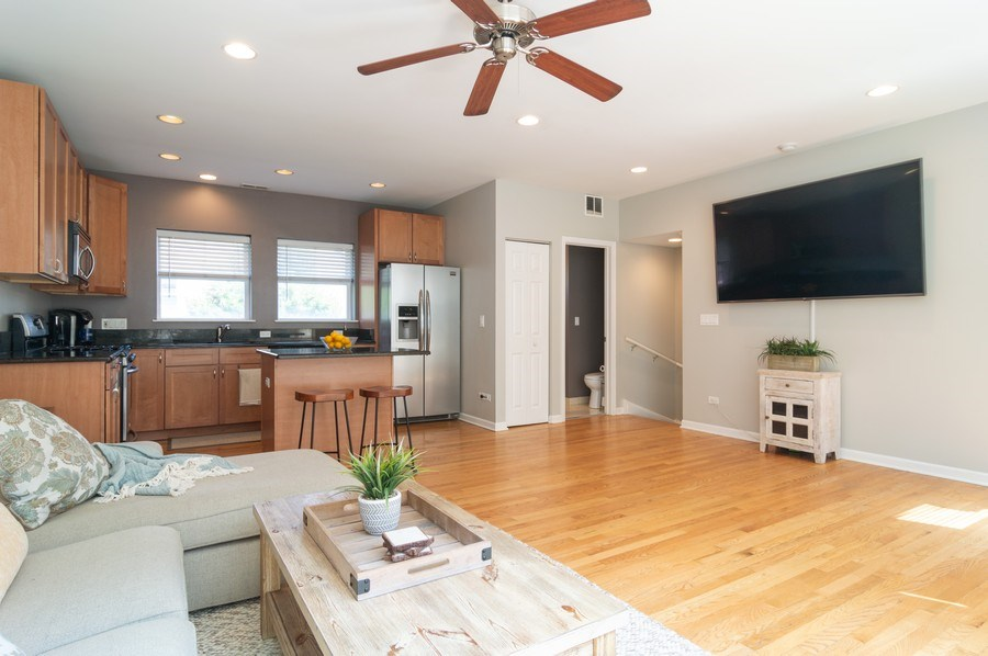 Real Estate Photography - 3337 W. IRVING PARK Road, Unit 3E, Chicago, IL, 60618 - Kitchen/Living
