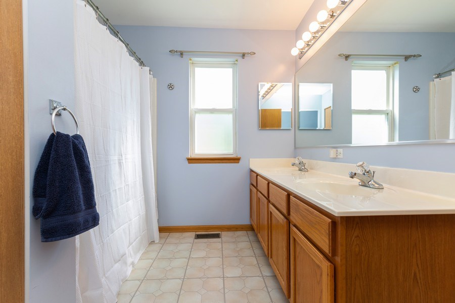 Real Estate Photography - 2445 Meadowsedge Lane, Carpentersville, IL, 60110 - MASTER BATHROOM--Large vanity with double sinks!