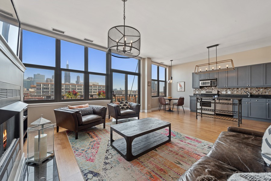 Real Estate Photography - 15 South Throop St, 606, Chicago, IL, 60607 - Kitchen / Living Room