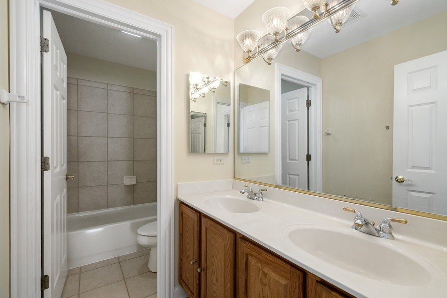 Real Estate Photography - 2315 Chestnut Avenue, Glenview, IL, 60026 - Hall Bathroom with Double Vanity