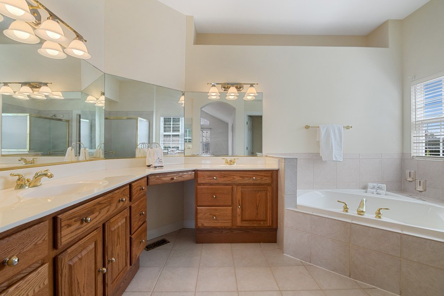 Real Estate Photography - 2315 Chestnut Avenue, Glenview, IL, 60026 - Master Bath with Soaking Tub, Separate Shower, Dua