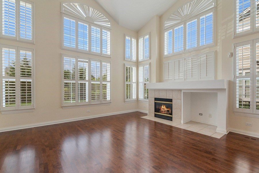 Real Estate Photography - 2315 Chestnut Avenue, Glenview, IL, 60026 - Family Room with Floor to Ceiling Windows