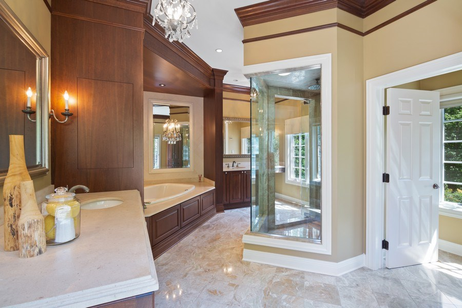 Real Estate Photography - 1660 ROBINWOOD Lane, Riverwoods, IL, 60015 - master bath features beautiful shower, whirlpool t
