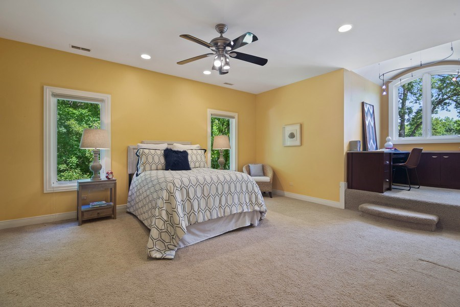 Real Estate Photography - 1660 ROBINWOOD Lane, Riverwoods, IL, 60015 - 4th bedroom with study area. All bedrooms with wal