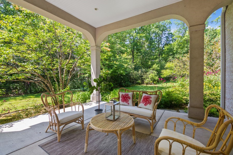 Real Estate Photography - 1660 ROBINWOOD Lane, Riverwoods, IL, 60015 - Covered terrace off living room
