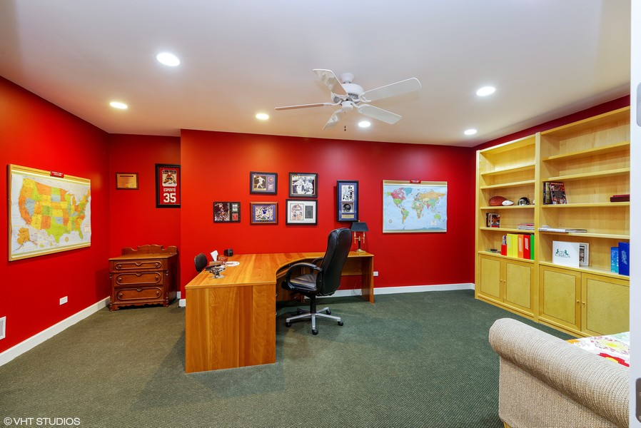 Real Estate Photography - 1660 ROBINWOOD Lane, Riverwoods, IL, 60015 - This room is being used as office, also has large