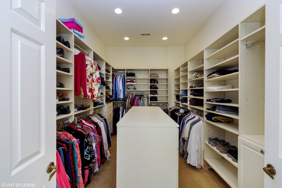 Real Estate Photography - 1660 ROBINWOOD Lane, Riverwoods, IL, 60015 - very large, outfitted master closet