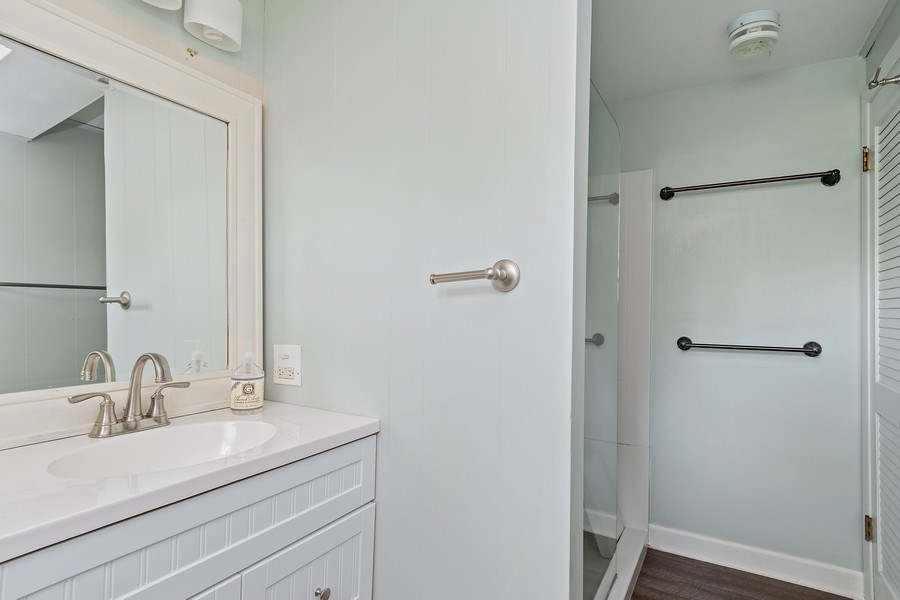Real Estate Photography - 317 West Gartner Rd, Naperville, IL, 60540 - 2nd Bathroom in Lower level